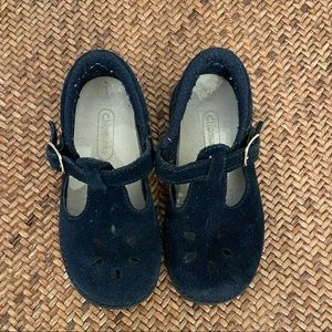 Navy blue suede t bars size 7